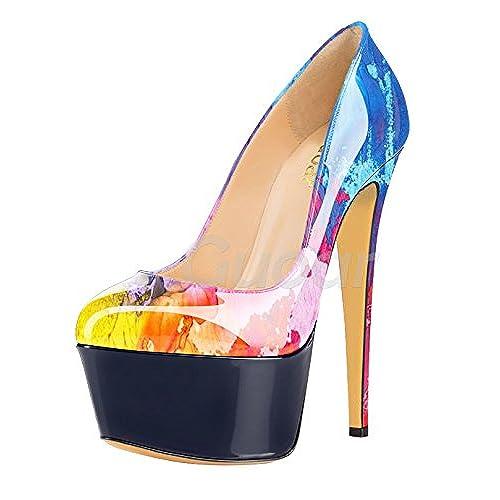0a8df584d7af86 Guoar Women s Stiletto Big Size High Heels Closed Toe Platform Patent Pumps  for Wedding Party Dress