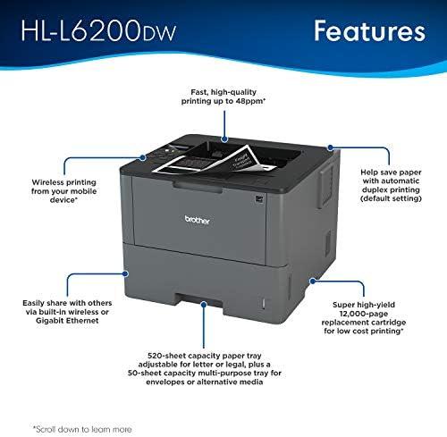 Brother HL-L6200DW Wireless Monochrome Laser Printer with Duplex Printing (Amazon Dash Replenishment Ready) 41l4i4A5fuL