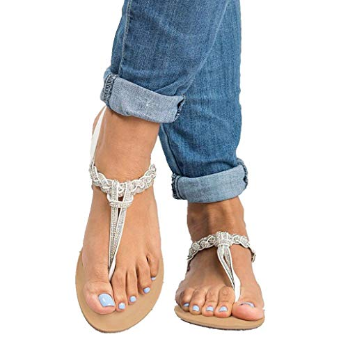 (Womens T-Strap Buckle Flats Thong Ankle Strap Summer Gladiator Sandals Beach Shoes (US:9.0, White))