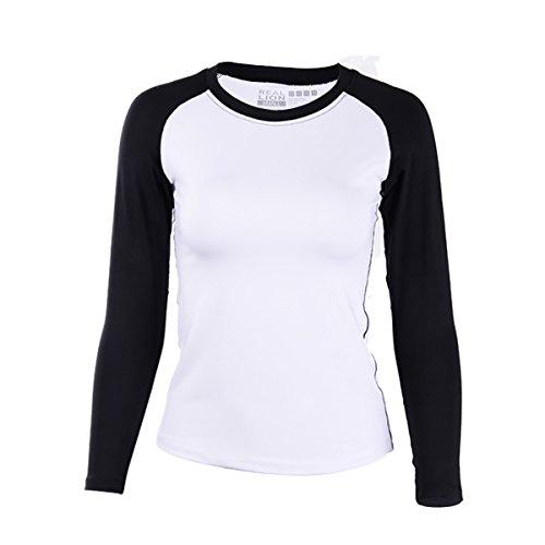 EUFANCE las Mujeres con cuello redondo de Manga Larga de Deportes Básicos de Entrenamiento de Gimnasio Camiseta de Yoga T-Camisa Blusa Blanco