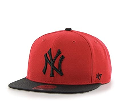 d6e947ce Image Unavailable. Image not available for. Color: New York Yankees Red  Sure Shot Two Tone 47 Captain Wool Snapback Hat