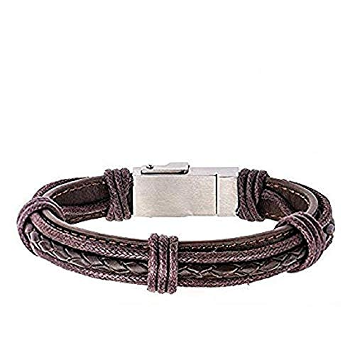 Men's Genuine Brown Leather IOS Lightning Charge Cable Bracelet 8 1/4 Inches Long (Men Leather Bracelet Inox)