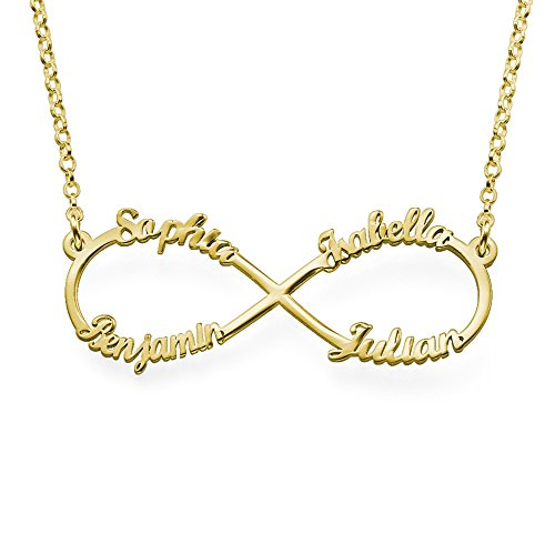 Infinity Pendant 4 Names Necklace in Gold Plated - Custom Made with 4 Names... (Figure Eight Pendant Necklace)