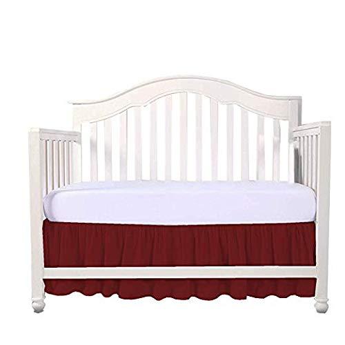 (Mattress-Homes Crib Bed Skirt Split Corner, Nursery Crib Toddler Bedding Skirts for Baby Boys or Girls, 14