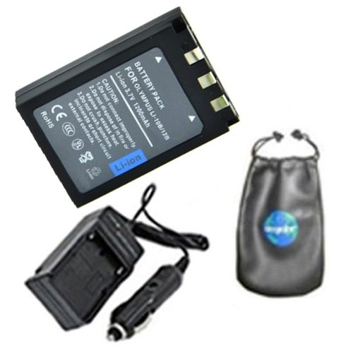 amsahr Digital Replacement Digital Camera and Camcorder Battery PLUS Mini Battery Travel Charger for Olympus LI10B, LI12B, Sanyo DBL10, C470, C50 - Includes Lens Accessories Pouch (Camcorder Battery C50)