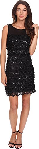 Jessica Simpson Women's Sleeveless Tiered Scalloped Mesh Sequin Dress, Black, 8