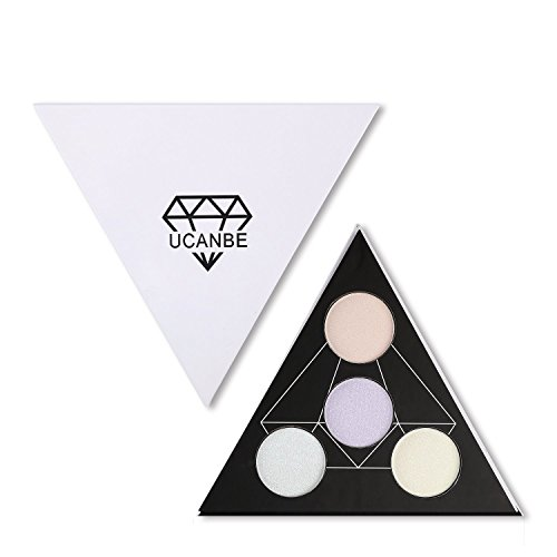 UCANBE Highlighter Palette Shimmer Illuminating Powder Makeup Satin Glow Kit – Revamp Your Face Eye Lip Color Highlighting Finish (A)