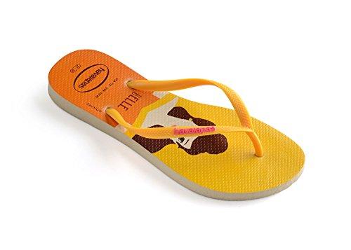 Flip Princesas Womens Rubber Havaianas Slim Beige yellow Flops qTFxIW6w