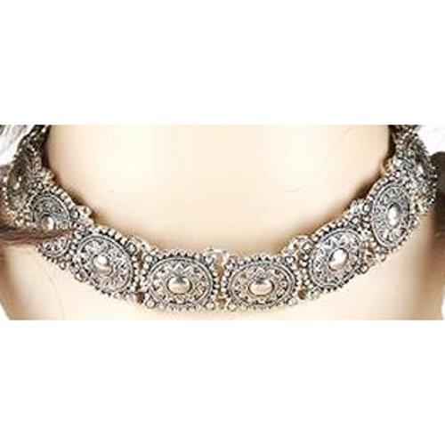 (Global Huntress Elegant Boho Vintage Fashion Antique Silver Plated Choker Collar Necklace Retro Alloy)