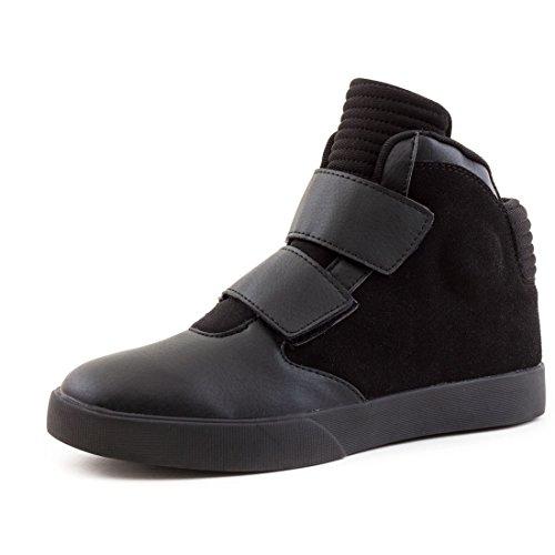 Herren High Top Sneaker Basketball Sport Freizeit Schuhe in hochwertiger Lederoptik Schwarz 42