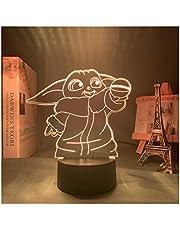 3D Baby Yoda Figuur Lamp, LED Nachtlampje Decor voor Thuis Slaapkamer Kantoor, Cadeaus voor Kinderen Vrienden (16 Kleuren met Afstandsbediening)