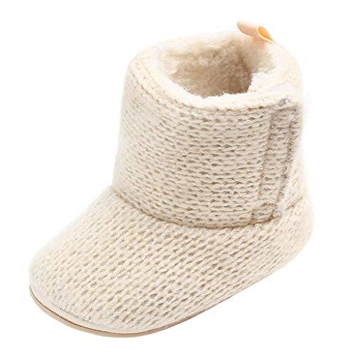Annnowl Baby Girls Knit Soft Fur Winter Warm Snow Boots Crib Shoes (12-18 Months, Khaki)
