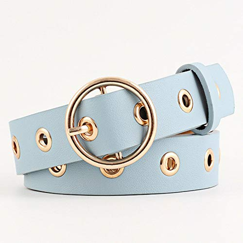 Blue Women Belt Alloy Buckle Faux Leather Studded Round Waistband Multi-Color Hollow Beauteous Belts Designer Great Pretty