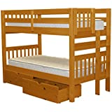 Bedz King Bunk Beds Twin over Twin Mission Style with End Ladder and 2 Under Bed Drawers, Honey