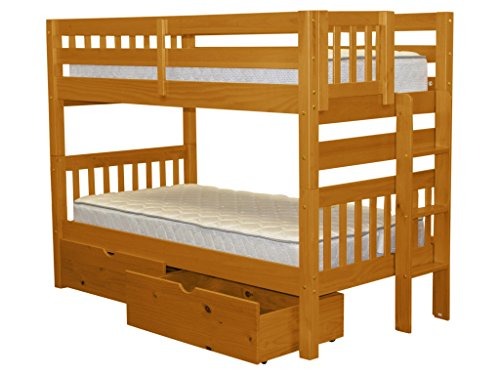 Bedz King Bunk Beds Twin over Twin Mission Style with End Ladder and 2 Under Bed Drawers, Honey ()