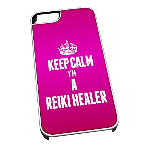 Bianco cover per iPhone 5/5S 2663rosa Keep Calm I m A Reiki Guaritore