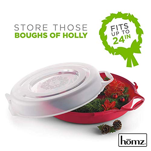 HOMZ Holiday Wreath Plastic Storage Box Red with Clear Lid Up to 24 6-Pack Up to 24 Home Products International 6710HDRDDC.06