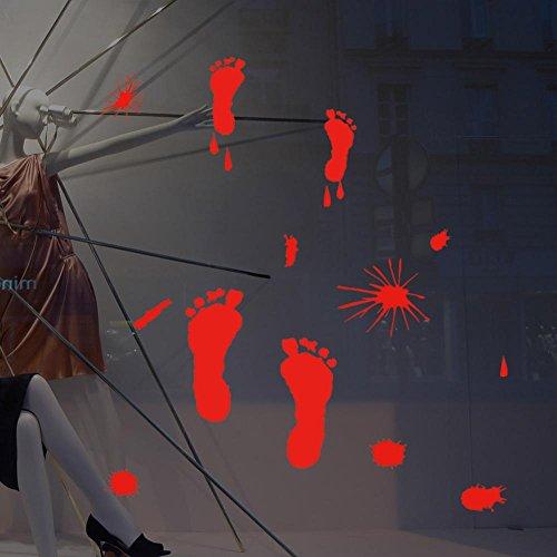 Kmmk Etiqueta engomada de la pared de Halloween cristal pegar Palma impresión pie handprint salón dormitorio pared decorativa]()