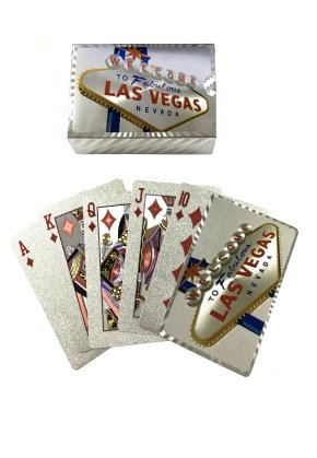 (WELCOME TO FABULOUS LAS VEGAS PLAYING CARDS IN SHINY SILVER (FOIL))