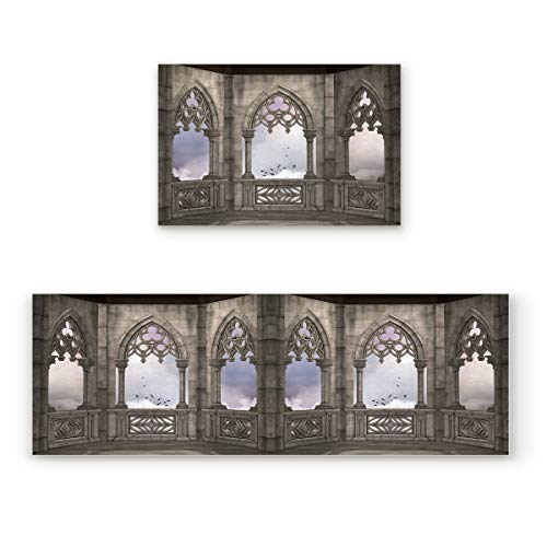 Gothic 2 Piece Non-Slip Kitchen Mat Rubber Backing Doormat Runner Rug Set, Kids Area Rug Carpet Bedroom Rug Medieval Stone Balcony with Curvings Middle Age Legend, 19.7x31.5in+19.7x63in