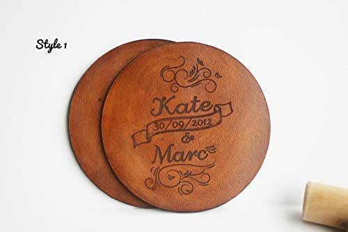 Personalized Leather Coasters Set