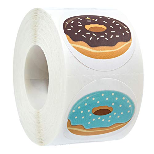 Stylish Donut Stickers / 500 Stickers per roll / 8 Delicious -