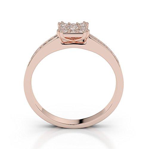 Or Rose 18carats 1/2ct G-H/VS sertie de diamants taille ronde Bague de fiançailles Agdr-2030