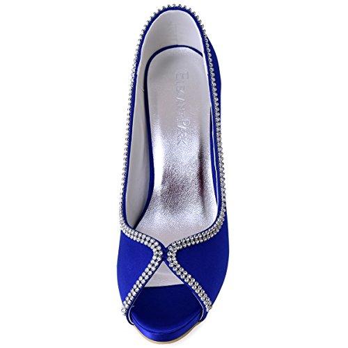 Elegantpark Ep11083 Scarpe Da Donna Peep Toe Strass Piattaforma Tacco Alto Raso Scarpe Da Sposa Abito Da Sera Blu