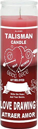 INDIO 7 Day Candle 2 Color Love Drawing - Pink / Red