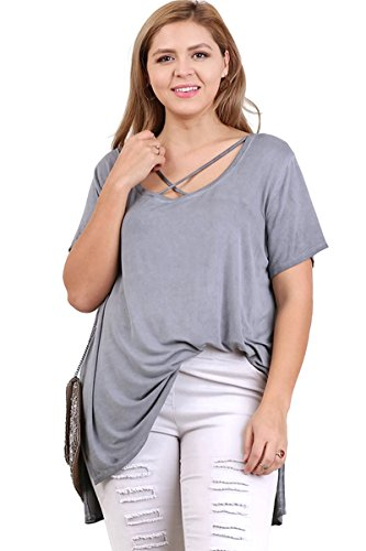 Umgee Bohemian Washed Short Sleeve High Low Hem Tunic Top Plus Size (1X, Ash)