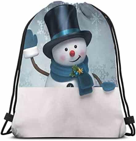 Gym Bags Unisex Drawstring Backpack Snowman Dab Dance Snow Man With Hat Casual Portable Sports Gym Bag Travel Storage Bag Drawstring Bags