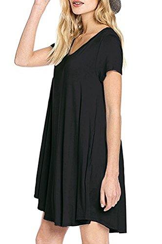 Poche Des Femmes Molerani Simple Simple Casual T-shirt Noir Robe Lâche