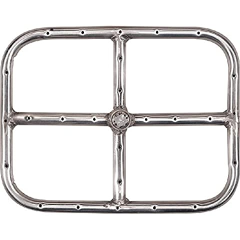 Alpine Flame 12 X 9 Inch Stainless Rectangular Single Natural Gas Fire Pit Ring Burner (Single Burner Natural Gas)