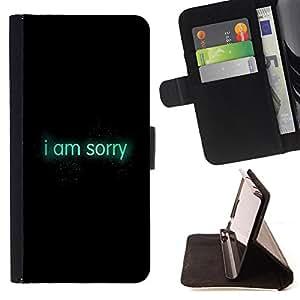 King Case - FOR Sony Xperia Z1 Compact D5503 - i am sorry - Prima caja de la PU billetera de cuero con ranuras para tarjetas, efectivo Compartimiento desmontable y correa para la mu?eca