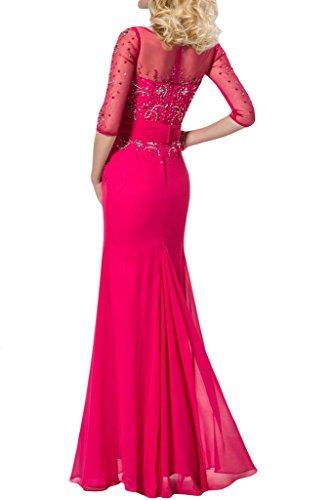 Festkleid Promkleid Aermel Guertel Ausschnitt Lang Abendkleid Ivydressing U Rosa Damen Chiffon Halb amp;Tuell wzRxqTOq