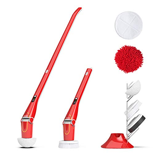 NPOLE Spin Scrubber IPX 7 Waterproof High Speed at 280r/m Power Cordless Spin Mop for Bathroom,Car,Kitchen,Floor,Wall,Tub Cleaner (Spin Scrubber)-RED by NPOLE (Image #7)