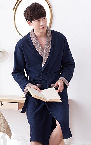 Blu Primavera Casa Cotone Abbigliamento colore Morbido Casual Dafrew Xl Notte Ed Blu Accappatoio Uomo Pigiama Comodo In Per Camicia La Da Autunno Dimensioni gwxHP7w
