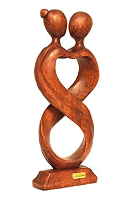 "G6 Collection 12"" Wooden Handmade Abstract Sculpture Statue Handcrafted Infinite Love Gift Art Decorative Home Decor Figurine Accent Decoration Artwork Handcarved"