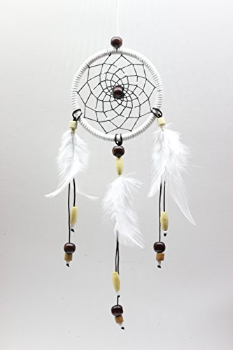 Handmade Dreamcatcher, 2.7 Diameter, Good for Car, Wall Hanging Ornament, and Gift (WHITE)