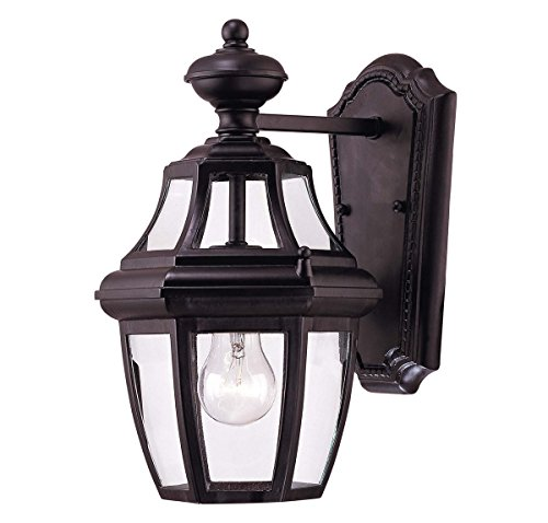 Savoy House Lighting 5-490-BK Endorado Collection 1-Light Outdoor Wall Mount 13.25-Inch Lantern, Black Finish with Clear Glass