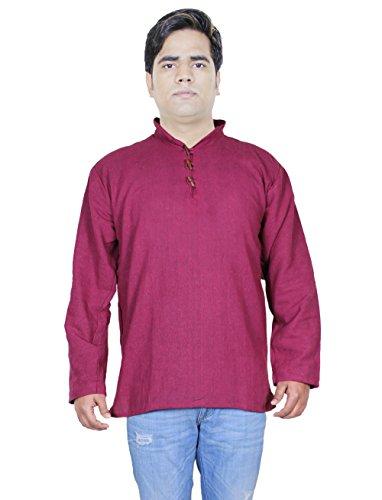 mens-cotton-shirt-short-kurta-indian-clothing-fashion-dress-size-m