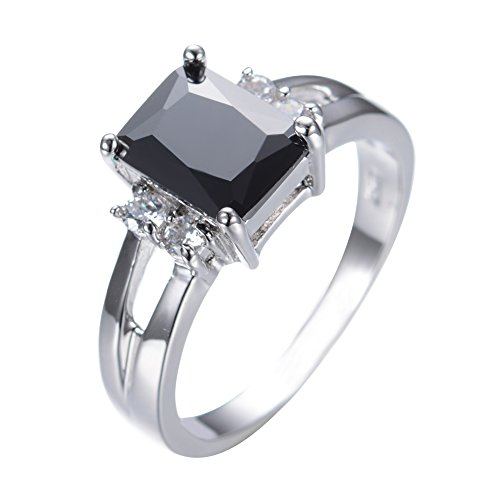 Rongxing Jewelry Square Black Sapphire Ring Size 8 Women's White Gold Engagement