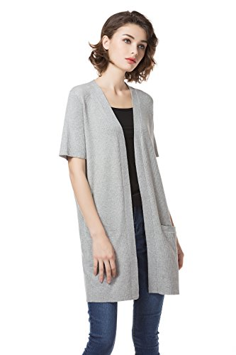 KNITBEST Womens Ladies Short Sleeve Knitwear Long Cardigans With Big Pocket, Grey, Medium (Sleeve Cardigan Long Short)