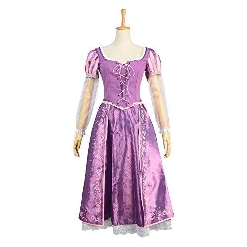 Beautyshop Tangled Halloween Cosplay Costume Princess Rapunzel Dress Embroidered Satin Adult Ball Gown Outfit Suit (Tangled Halloween Costumes For Adults)