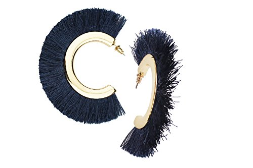 Mina Bohemian Statement Boho Tassel C Shape Fringe 3 Inch Drop Updated Ethnic Warrior Hoop Navy Blue - In Shape Mooney