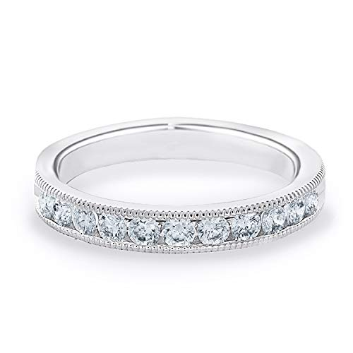 1/2 CT Milgrain Channel-Set Lab Grown Diamond Ring in 10K White Gold, Sparkling in E-F Color and VS Clarity- Finger Size 8.25