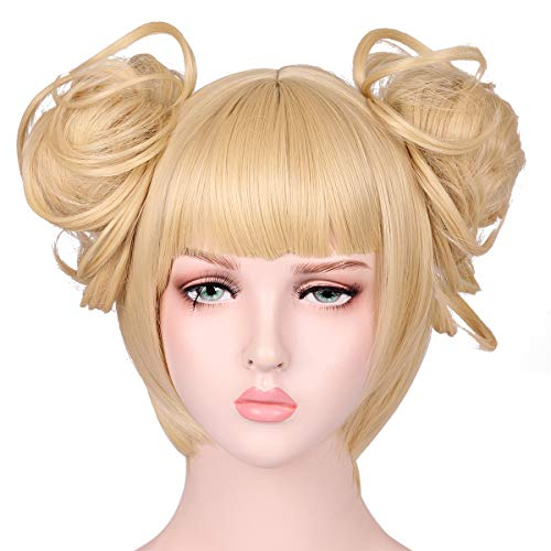 FantaLook Short Blonde Cosplay Wig with 2 Detachable Buns -