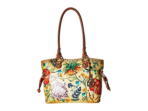 Anuschka Women's Genuine Leather Drawstring Shopper Bag | Hand Painted Exterior | Caribbean Garden