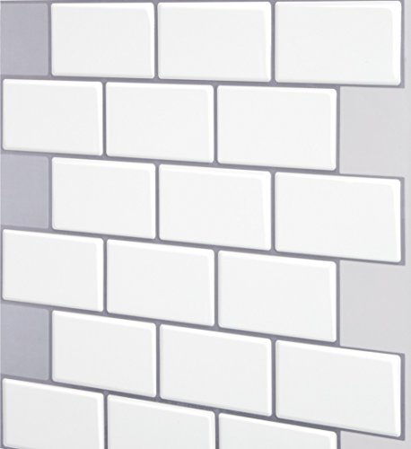 Tic Tac Tiles - Premium Anti Mold Peel and Stick Wall Tile in Subway Design (12''x12'' 10 Sheets, Mono White) by Tic Tac Tiles (Image #1)