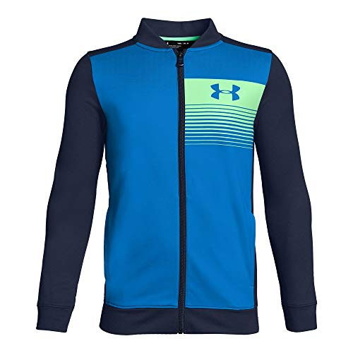 Under Armour Boys Novelty Pennant Jacket, Blue Circuit (436)/Green Typhoon, Youth Large - Novelty Knit Jacket